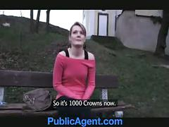 Publicagent meggie settles for sex for cash behind the churc