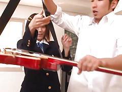 upskirt, handjob, asian, schoolgirl, brunette, at school, playing guitar, asuka hoshino, j school girls, idol bucks
