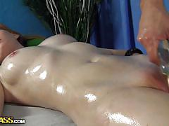 Ginger babe oiled and massaged