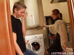Redhead teen having sex rather than doing laundry