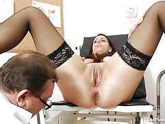 mature, stockings, doctor, gynecologist, brunette, speculum, medical exam, pussy exam, old pussy exam, carmelita