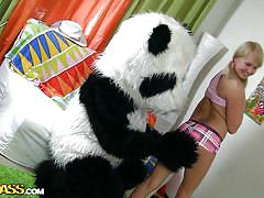 Mr. panda with the naughty blonde