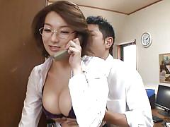 milf, asian, teacher, glasses, brunette, squeezing tits, phone talking, at school, mio takahashi, jp teacher, idol bucks