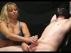 Femdom handjob amber's slow hj tied down.