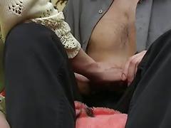 Mom with big saggy boobs & moron-guy
