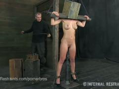 Perfect cherie deville in stocks & a head box