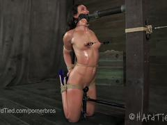 bdsm, fetish, pornstar, hd, bondage, gag, nipple clamps, paddling, predicament bondage, red ball gag, rope bondage