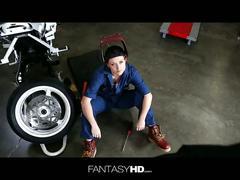 Redhead karlie montana biker, fucks her mecanic