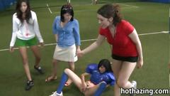 Bunch of amateur girls playing naked football and...