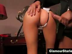 Clothed euro blonde gets slammed
