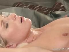 Mom blonde milf makes love to her man