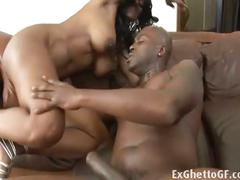 Two nasty ebony belles share a hard cock