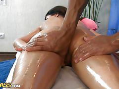 Oiled up and massaged by her favorite masseur