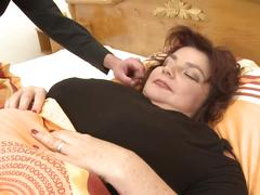 Son wakes up mature bbw mother for sex