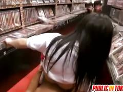 Japanese teen gets fucked at the video store