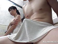 Japanese beauty raises a cock