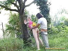 Blonde german teen sucks and fucks a cock outdoors