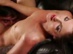 Stunning brunette chick fucked on the couch