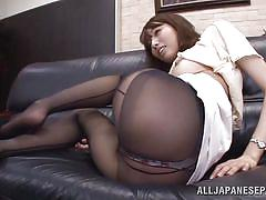 milf, facesitting, asian, pantyhose, office, kissing, couch, brunette, hairy pussy, undressing, at work, arisu miyuki, jp teacher, idol bucks