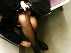 Candid sexy pantyhose in subway 596