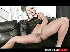 Blonde uses dildo to cum