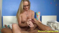 Jerking spex milf with pierced fake tits pov
