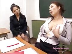 2 teachers in pantyhose masturbating in front of...