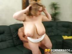 Busty plumper gets blasted on the couch