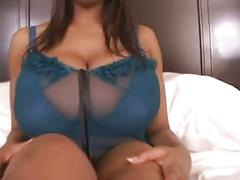 Amanda white gets cum all over her big, black bouncing tits