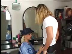 Blonde in blue satin blouse gets fucked