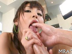 Oiled up asian babe fucked after teasing her pussy with toys
