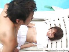 Japanese cutie gets a poolside pussy pounding