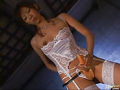 Experienced asian milf rubs and fucks a guy