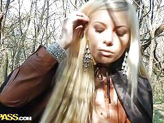 Blonde chick gives me head in the woods