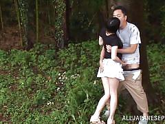 young, asian, outdoor, forest, blowjob, kissing, brunette, licking tits, sucking balls, tsubomi, outdoor jp, idol bucks