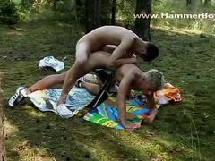 Bareback boys in hardcore outdoor anal