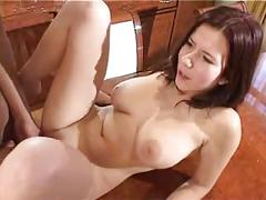 Big tits brunette gets cum on her tits