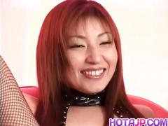 Hitomi ikeno gets sex toys in and on hairy slit