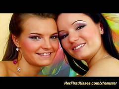 Young cute czech lesbian kisses