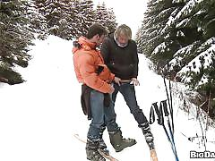 outdoor, blond, blowjob, gays, winter, skiing, mountain, marek, martty, out in public, haze cash