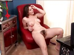 Hairy beryl showing masturbate at front of webcam