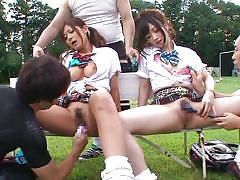 Two bored sluts on a bench