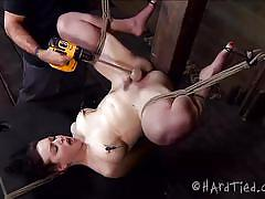 Slut tied upside down and punished