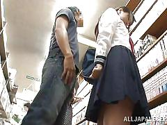 teen, upskirt, asian, public, schoolgirl, uniform, library, brunette, wired, white panties, sexy ass, pussy rubbing, public sex japan, idol bucks