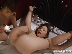 Hot wax on a shaved anus