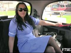 Nurse sucks off the taxi driver
