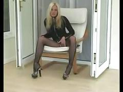 British slut michelle masturbating in fishnet bodystocking