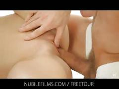 Nubile films - cute babe with small tits fucks two horny lov