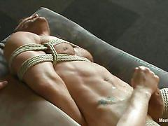 handjob, bdsm, blowjob, gays, tied up, muscular, ropes, shibari, landon conrad, men on edge, kinky dollars