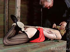 Rough mouth fucking for a tied milf